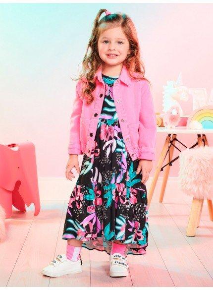 vestido infantil floral preto momi