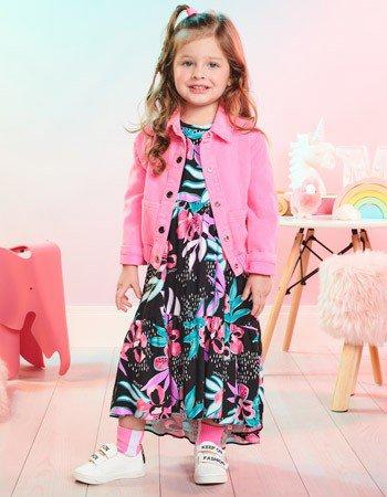 Vestido Infantil Floral Preto Momi J3351
