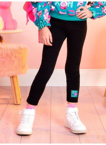 calca legging infantil preta momi