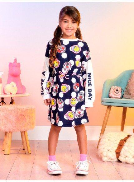vestido infantil de poa marinho piu piu e frajola