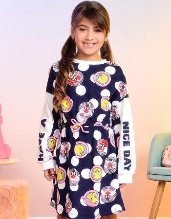 Vestido Infantil de Poa Marinho Piu Piu e Frajola F9463