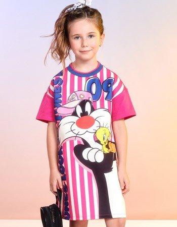 Vestido Infantil Listrado Rosa Piu Piu e Frajola F9635