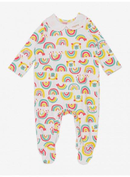 macacao bebe menina estampado arco iris momi