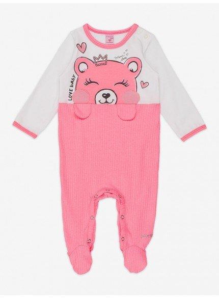 macacao bebe menina de ursinho rosa momi